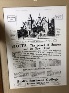 Community notice announcing the relocation of Stott's Business College to Russel St, Melbourne.