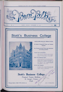 Newspaper Advertisement of Stott's Business College in Perth.