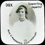 Miss O. Anderson, dux of the Typewriting Department of Stott's Business College in 1910.
