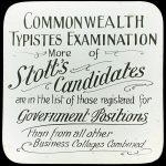An advertisement for Stott's Business College typists course in 1910.